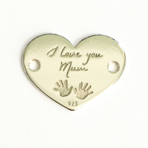 Sterling Silver I Love You Mum Heart Charm